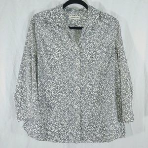 Coldwater Creek white and navy button front top